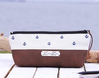 Pen case -Anchor Navy blue / cream-