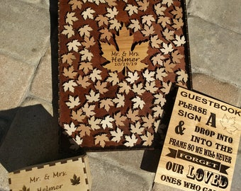 Guest Book Wedding Guest Book Alternative Personalized Drop box Alternative Guest Book Hearts GuestBook, Maple leaf