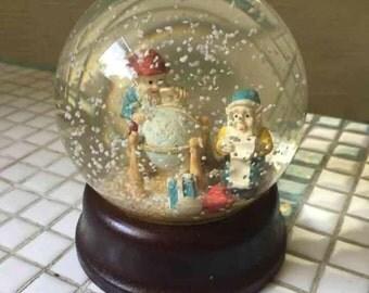 Gnome Dwarf Elf Snow Globe Wooden Base