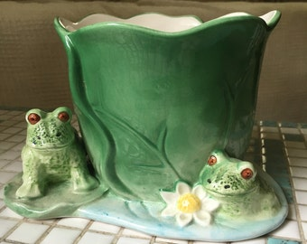 Frog Lilypad Planter Flower Pot Garden