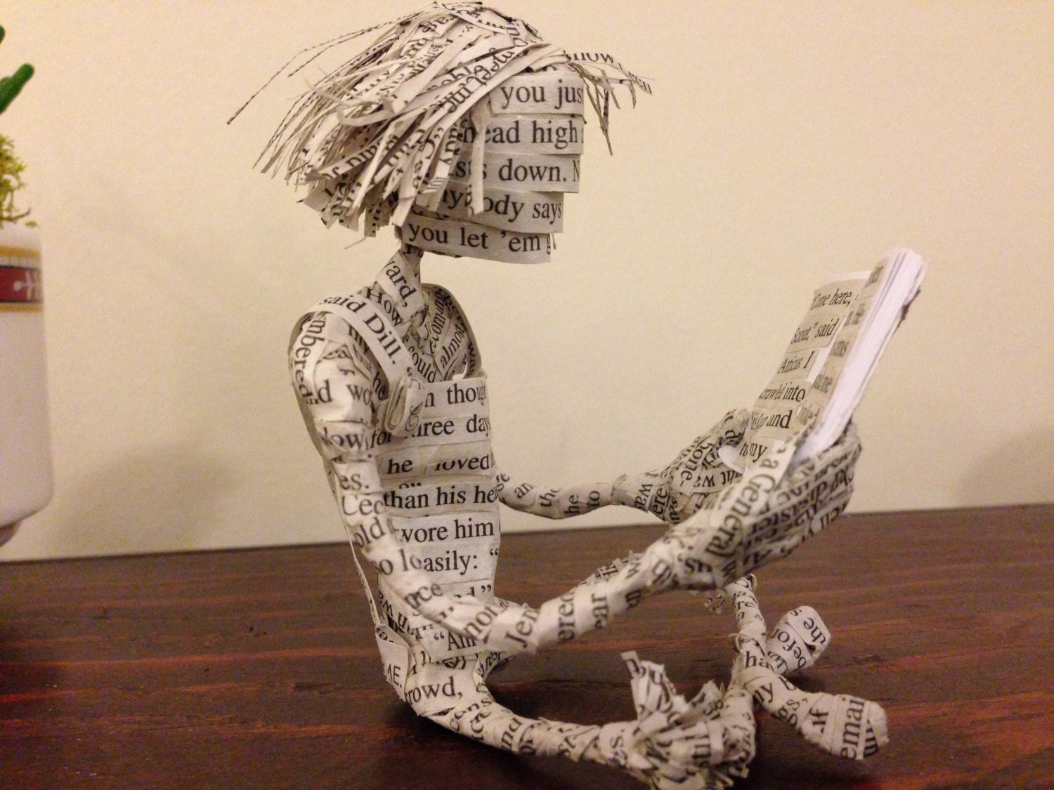 Scout, To Kill A Mockingbird, Book Sculpture, Book Art, Paper Sculpture, Paper Mache, Harper Lee,  Book Lover, Teacher Gift, Zen Garden