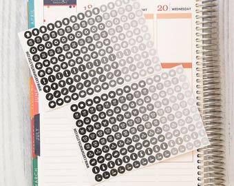 "300 TINY functional stickers, 0.25"" planner stickers kit set, neutral black daily chore sticker, ec hourly happy planner filofax kikki.k"
