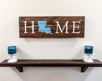 Rustic Wooden Home Sign with U.S. State or Maple leaf Silhouette