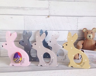 Kids easter gift etsy kids easter gift personalised easter present freestanding bunnies easter egg alternative idea negle Choice Image