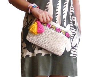 floral clutch bag crochet clutch purse boho fashion gypsy clutch beach accessory tassel bag charm floral brocade embellishment ONE PIECE