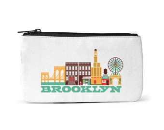 City Living Pouch - Brooklyn - New York -  Zipper pouch - Cosmetic pouch - Toiletry bag - Travel pouch  - Birthday Gift - Hometown - Organic