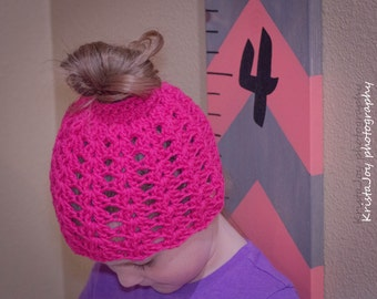 crochet 6-10yr shell stitch messy bun beanie