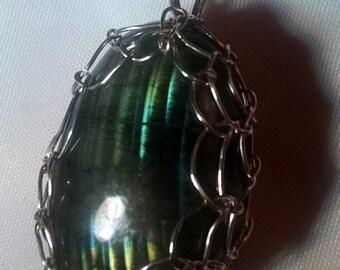 Handcrafted Argentium Silver Wirewrapped Labradorite Pendant