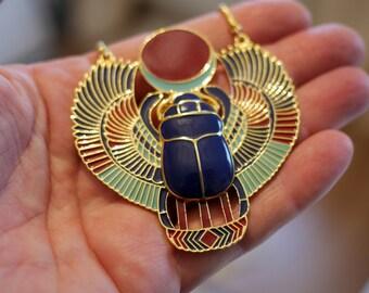 Retro Bronze Scarab Beetle Pendant Egyptian Necklace Jewellery