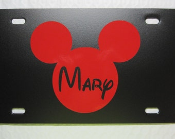 Mickey Mouse License Plate ~Choose the Plate and Image Color~ Name / monogram / monogrammed / personalized / single letter / vanity / solid