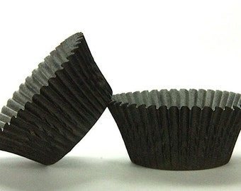 50pc Solid Black Color Standard Size Cupcake Baking Cups Liners Wrappers