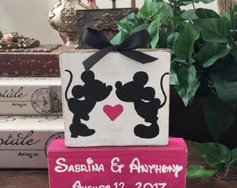 Personalized Mickey & Minnie mouse, Disney themed wood block set, wedding gift, wedding shower, bridal shower, wedding table, cake table