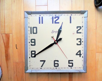 Vintage Sessions. Metal. Square. School Wall Clock. 1940's.
