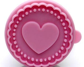 Heart Cookie Stamp - Wooden Handle with Silicone - USA FREE Shipping