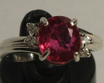 Beautiful natural tourmaline - rubellite 1.89 ct & sterling silver 926 ring size 7