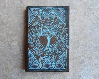 Journal - travel notebook - diary - tree of life - blue tree