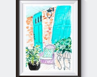 Original acrylic painting.Home decor Wall art porch. Gift for wife.Wall art chair. Funky art. Ink drawing.Plant art.Wall decor.