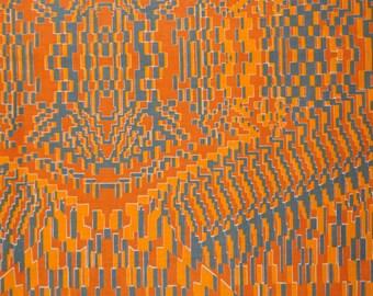 African cotton Orange Tetris one