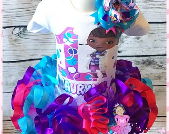 ribbon trimmed doc mcstuffins tutu set