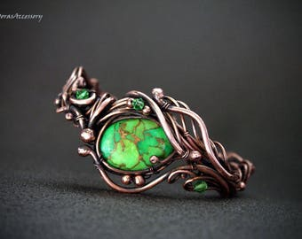 Unusual copper bracelet with Green turquoise – Wire wrapped copper bracelet – Bracelet- cuff bracelet - copper cuff