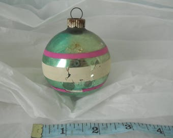 Vintage Mercury Glass Christmas Ornament Green Pink White Stripes Stenciled Shiny Brite