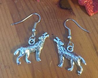 Wolf silver dangly earrings
