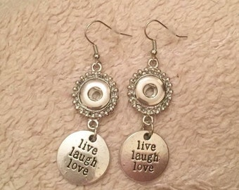 Live love laugh silver snap button dangly earrings