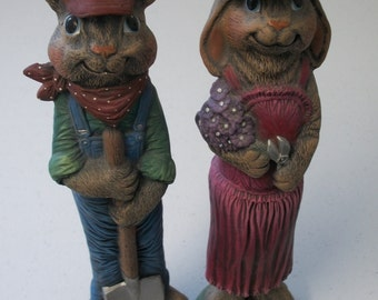 Ceramic Easter bunnies set of 2,farmer bunnies,spring Eater decoration