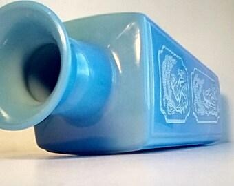 1969 Jim Beam Decanter vase, milky blue with white Greek style design