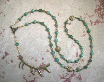 Cernunnos (Kernunnos) Prayer Beads in Moss Agate: Gaulish Celtic God of Nature and Wild Beasts