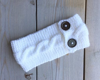 White Knitted Cable Headband with Chestnut Buttons