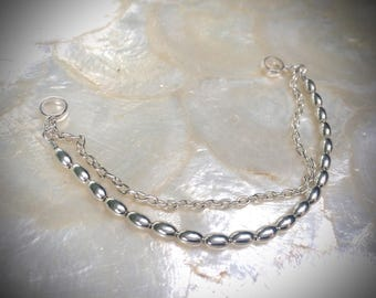 bracelet with olive shaped silver beads sterling silver 925
