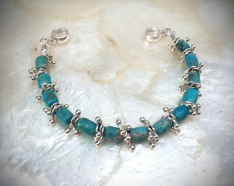 campitos turquoise beads bracelet Karen Hill Tribe 925 sterling silver