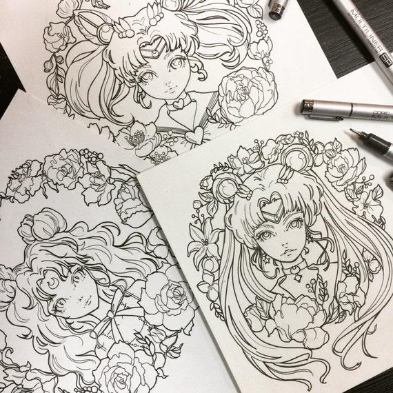 Printable Coloring Pages Sailor Moon Luna Chibi Fan Art Sheets