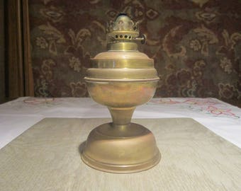 Brass Oil Lamp Vintage 1950's English Made Hurricane Lamp Weighted Bottom Collectible Home Decor Table Cabinet Decor - Col0103
