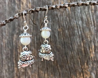 mother of pearl sheep dangle earrings
