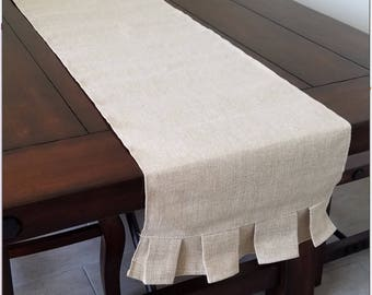 "Monogrammed! Ruffle table runner 14""x108"" burlap look. Embroidered!"
