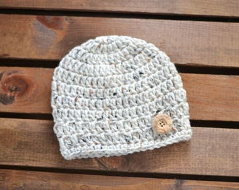 Crochet Newborn Hat in Oatmeal with Ribbing, Newborn Photography Prop, Coming Home Hat, Baby Shower Gift - Size Newborn