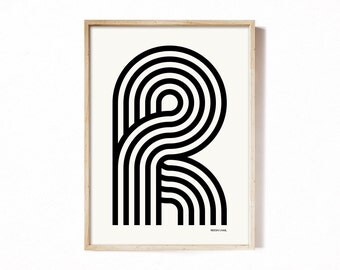 Letter R - modern typography alphabet print.