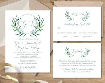 Greenery Wedding Invitation Set / Eucalyptus Crest / Initial Monogram Crest, Eucalyptus Leaves ▷ Printed Wedding Invitations or Printable