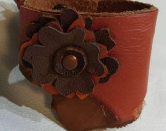 Layered Raw Edge Floral Wrap Bracelet