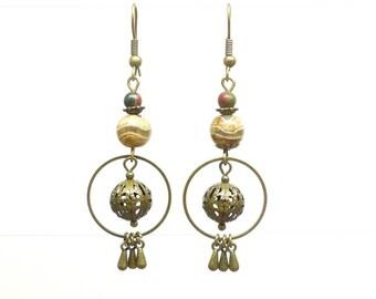 Ethnic stone earrings. Jasper.