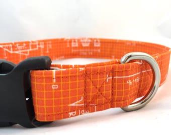 Orange Geek Dog Collar/Geek Gift/Rockets Graphic Dog Collar/Modern Dog Collar/Girl Dog Collar/Boy Dog Collar/Trendy Dog Collar/Spring collar