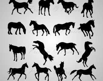 Buy 2 Get 1 Free! Digital Clipart Horse Silhouettes, stallion, running horse, farm animals, pets, black images png/eps/svg/dxf/studio files