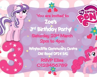 Printed Personalised My Little Pony Birthday Party Invitations x10