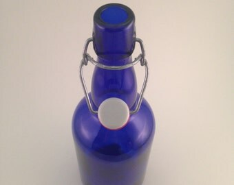 Set of 6 - 350ml Cobalt Blue Glass Bottles with Swing Top, Recycled and Cleaned