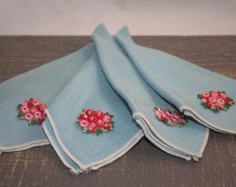Tea Napkins, blue, flowers, vintage