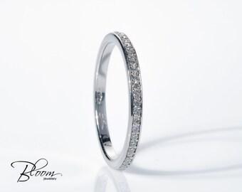 Diamond Eternity Ring 18K White Gold Eternity Ring Real Diamond Eternity Ring Anniversary Diamond Ring Gold Diamond Ring Thin ダイヤモンド