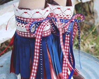 Eleanor Boot Cuffs ... Pink PomPon... Pageant boot covers, boot cuffs, fringe boots, boot covers, red white and blue, lace boots, gypsy boot