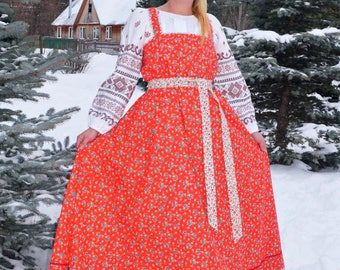 "Russian traditional kosoklinny sarafan (sundress) ""Cornflowers on red"""